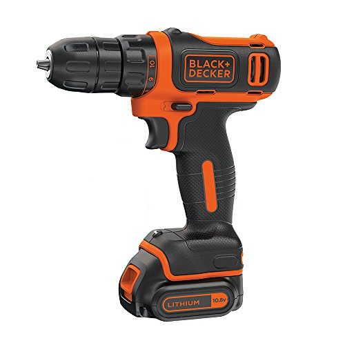 BLACK+DECKER 10.8 V Cordless Compact Electric Drill Driver, 1.5 Ah Lithium-Ion, BDCDD12-GB