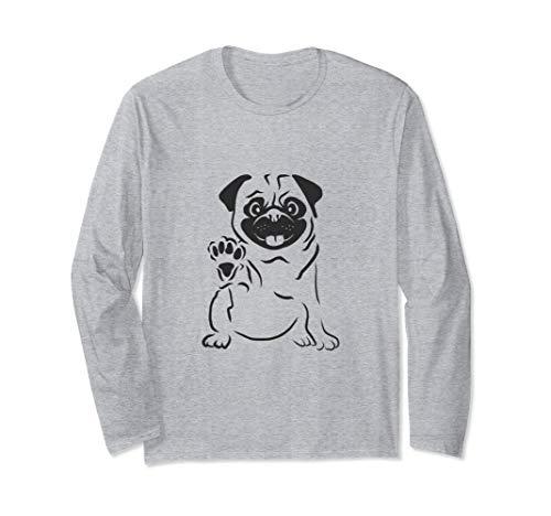 Süßer Mops der Pfötchen hebt und winkt Mops,Hund,Pug-Liebe Langarmshirt