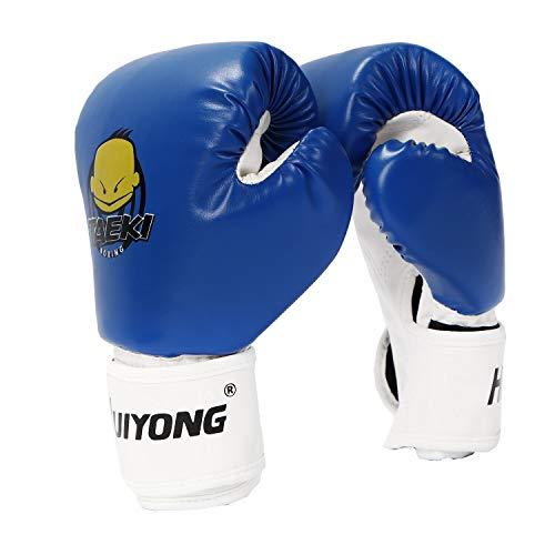 HUINING Kinder-Boxhandschuhe, Boxhandschuhe, MMA-Handschuhe, PU, Cartoon-Sparring, Dajn, Trainingshandschuhe, 113 g, für Alter 3–12 Jahre (blau)