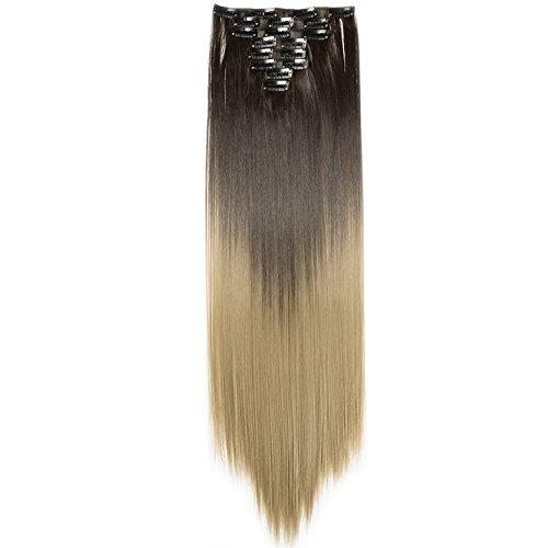 TESS Clip in Extensions wie Echthaar Kunsthaar Ombre Haarteil günstig 8 Tressen 18 Clips Haarverlängerung Glatt 26