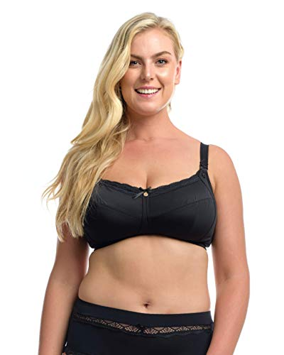 The Essential Nursing Bra: Women's Plus-Size/Full Bust Wire-Free Maternity/Breastfeeding Bra. Black. 32L (USA) / 32HH (UK)