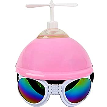 Pearlead Pet Dog Motorcycles Bike Helmet Cat Pet Costumes Hat with Propeller and Sunglasses for Sun Rain Protection in Summer Pink Dragonfly S