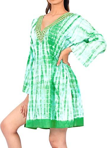 LA LEELA Baumwolle Kaftan verschleiern Kleid Oben Kimono Bademoden Schwimmen Lange Ärmel Tunika grün