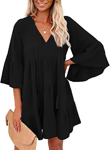 FOBEXISS Vestido de verano para mujer, de color sólido, con volantes, ajuste holgado, cuello en V, manga 3/4, mini vestido de playa con cordón de borla