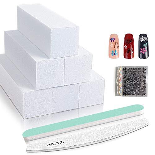 Nagel Buffer block 6 Stück, Nagelfeile Set Nagelkunst Maniküre Werkzeug mit nagel aufkleber 30 stück