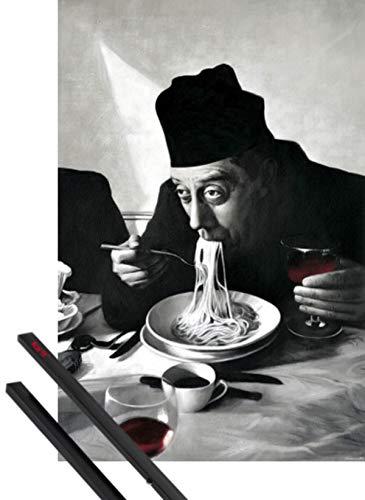 1art1 Kochkunst Poster (91x61 cm) Spaghetti, Rotwein, Don Camillo Inklusive EIN Paar Posterleisten, Schwarz