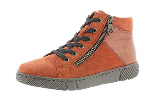 Rieker Damen Stiefeletten, Frauen Schnürstiefelette, Boot halb-Stiefel schnür-Bootie übergangsschuh weiblich Lady,Rot(Ziegel),38 EU / 5 UK