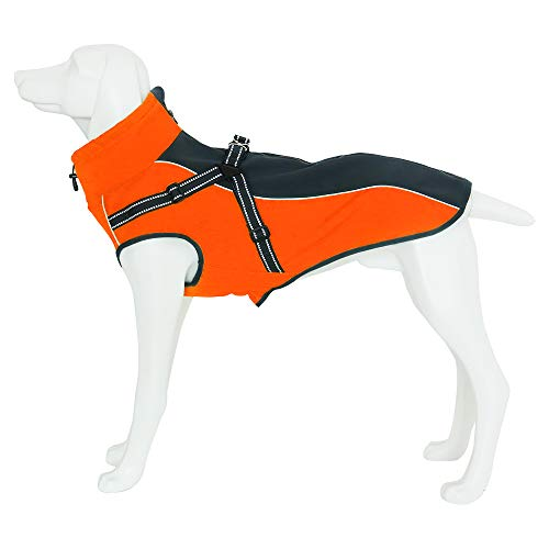InnoPet Dog Jacket Waterproof Windproof Dog Winter Coat with Harness Dog Windbreaker Outdoor Warm Dog Vest for Medium and Large Dogs