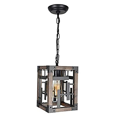 Beuhouz Square Hanging Farmhouse Pendant Light Fixture, Metal and Wood Rustic Kitchen Island Lighting Small Industrial Black Metal Cage Entry Hallway Porch Lantern Light 1-Light Edison E26 8050