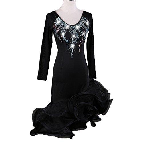 Langärmelig Lateinisches Tanzkleid für Frauen Flash-Bohrmaschine Latin Dance Wettkampfanzug Trikot Performance Kostüm, Black, XXL