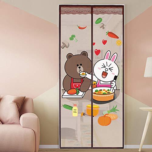 Vitila Brown Cartoon Bär Und Kaninchen Muster Magnet Türschließer 120x210cm / 47x82inches Moskitonetz Terrasse Halten Sie Frische Luft Rein Und Insekten Raus,Ohne Bohren