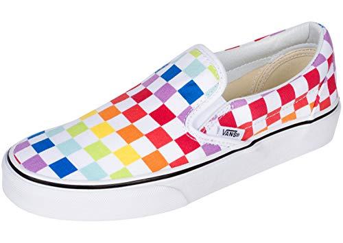 Vans Classic Slip-On (Checkerboard) Rainbow/True White Men's 7.5, Women's 9