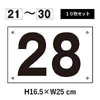 番号札 屋外 21~30セット H165×W250mm アルミ複合板 四隅取付穴あり 駐車場 cn-101-21-30