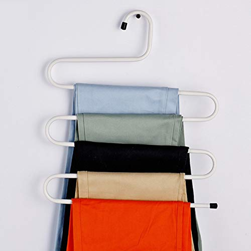 NYSJLONG Cintres 5 couches en Forme de S Fer armoire cintres de Rangement Pantalon Pantalon cintre Multi couches Support de Rangement de vêtements Placard Espace économiseur de