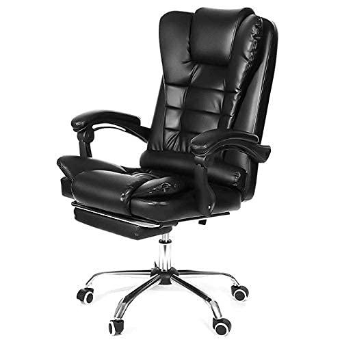 SuRose Sillón reclinable de oficina ajustable de piel sintética con elevación giratoria para oficina, computadora, juegos, con reposapiés para muebles para el hogar (color negro sin mentira)