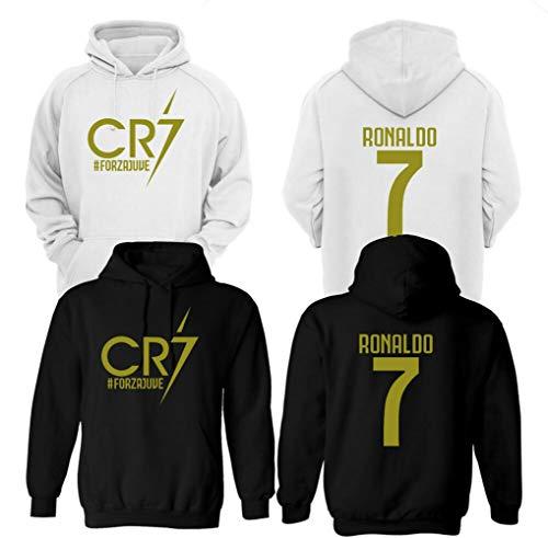 CR7 Fußball Hoodie FORZAJUVE Ronaldo Gr. 7-8 Jahre, Schwarz - Vorder- und Rückseite