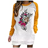 Rouped Floryday Camisetas y2k Manga Larga Mujer Oversize: S - XXL Túnica Blusones Blanca Mujer Estampado de Dahlia Tallas Grandes - Jerseys Anchos Largos,RC1016