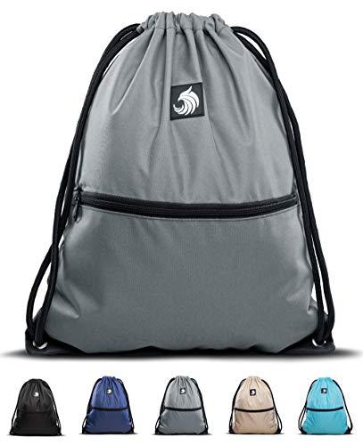 Fitgriff® Turnbeutel für Damen und Herren, Sportbeutel, Gymsack, Rucksackbeutel, Gym Bag Drawstring Backbag Bag (Grey)