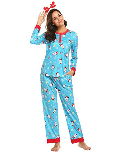 Ekouaer Matching Christmas Pajamas Santa Top and Pants Long Sleeve Holiday Sleepwear Blue Large