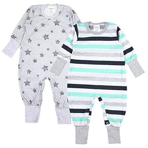 TupTam TupTam Baby Jungen Schlafstrampler Gemustert 2er Pack, Farbe: Farbenmix 3, Größe: 86-92