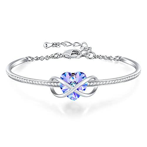 GEORGE · SMITH Bracelet Coeur Femme Bracelet Infini Réglable pour Femme, Bracelet Plaqué Argent avec Cristal Bleu Rose-Cadeau Anniversaire Femme Maman