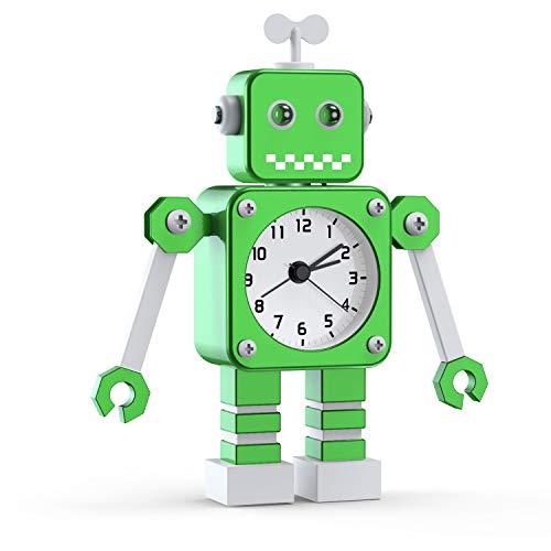 Kinderwecker Jungen, Roboter Wecker Kinder Analoge Wecker Ohne Ticken Lautloser Wecker für Jungs Mädchen Jungen (Grün)