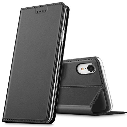 Verco Handyhülle für iPhone XR, Premium Handy Flip Cover für Apple iPhone XR Hülle [integr. Magnet] Book Hülle PU Leder Tasche (6,1 Zoll), Schwarz