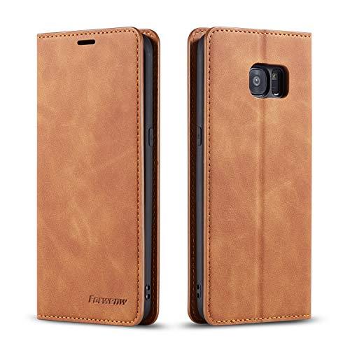 EZYUTAK Hülle für Samsung Galaxy S7, Magnetverschluss Premium PU Leder Flip Hülle mit Kartenfächern Brieftasche Standfuntion stoßfeste Silikonhülle Retro Ledertasche - Braun