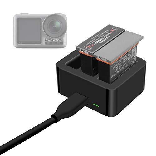 Yavso 3 in 1 Action Kamera Ladegerät für DJI OSMO Action Cam Akku Ladegerät