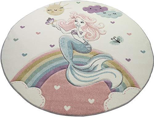 CARPETIA Tappeto da Gioco per Bambini Tappeto vivaio Ragazza Sirena Principessa Rosa Größe 120 cm Rund