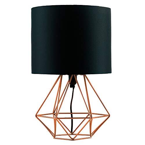MiniSun – Schöne kupferfarbige Tischlampe im retro Körbchenstil mit schwarzem Stoffschirm inklusive Kabel und Stecker – Tischleuchte