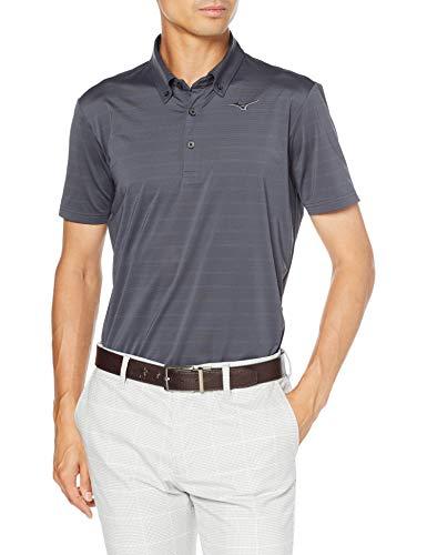 [ミズノ] ゴルフウェア 半袖シャツ ボタンダウン ボーダー柄 吸汗速乾 52MA0003 メンズ チャコールグレー L (日本サイズL相当)