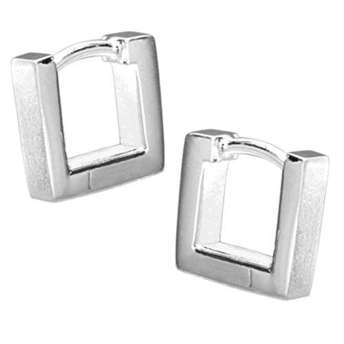 Vinani Klapp-Creolen viereckig klein mattiert Sterling Silber 925 Ohrringe CSQ