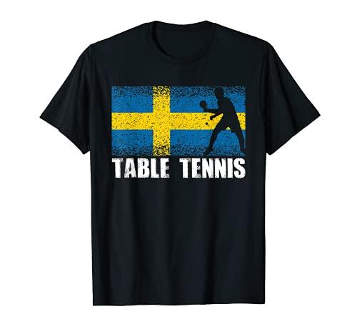 Deporte de tenis de mesa, bandera de Suecia, jugador de ping Camiseta