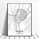zhuifengshaonian Huelva A Coruna Valladolid Alicante Badajoz Mostoles Spain Map Poster (ZW-1644) Sin Marco Poster 40x60cm