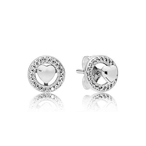 Nuevo Real 925 plata esterlina corazón corona estrella brillante redondo cuadrado Stud g para mujeres Original fino DIY oreja Jewelry-K009