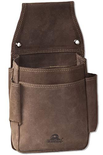 Woodland Kellnerbörsen-Holster mit vielen Taschen aus weichem, naturbelassenem Büffelleder in Dunkelbraun/Taupe