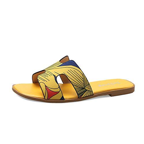Zapatillas De BañO para Hombre Zapatillas Mujer Sandalias con Letras de Verano al Aire Libre, Zapatillas Planas Ligeras Antideslizantes con Punta Abierta y Descalzo para niñas Amarillo EU35
