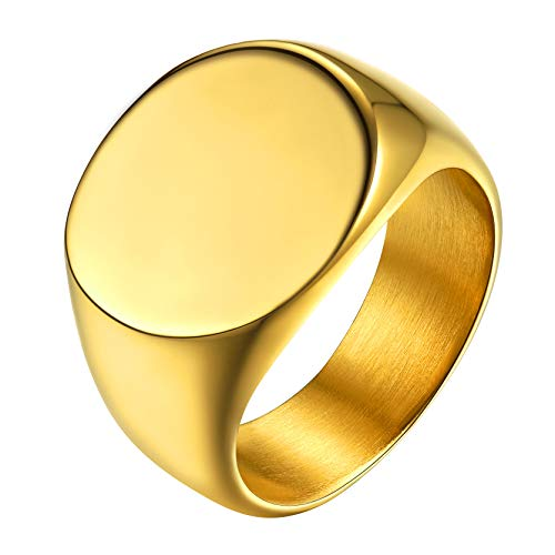 GoldChic Jewelry Gold Signet Pinky Ring For Women, Punk Statement Rings For Rapper Size N½