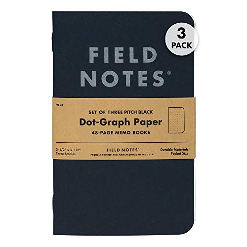 """Field Notes 3-Pack Pitch Black Memo Books (3.5"""" X 5.5""""), Dot-Graph, 48 Pages 