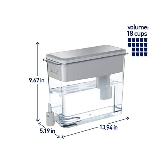 """Brita Standard UltraMax Water Filter Dispenser, Gray, Extra Large 18 Cup, 1 Count 5 The BPA-free UltraMax water dispenser holds 18 cups of water, enough to fill 6 24-ounce reusable water bottles Get great tasting water without the waste; by switching to Brita, you can save money and replace 1,800 single-use plastic water bottles a year This space efficient filtered water dispenser fits perfectly on refrigerator shelves, features an easy locking lid and precision pour spigot; Height 10.47""""; Width 5.67""""; Length/Depth 14.37""""; Weight 3 pounds"""