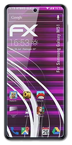 atFolix Glasfolie kompatibel mit Samsung Galaxy M51 Panzerfolie, 9H Hybrid-Glass FX Schutzpanzer Folie