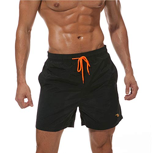 donhobo Badeshorts für Herren Schnelltrocknend Schwimmhose Badehose Jungen Beachshorts Boardshorts Strand Shorts Freizeit Sport Kurz Hose (Schwarz, M)