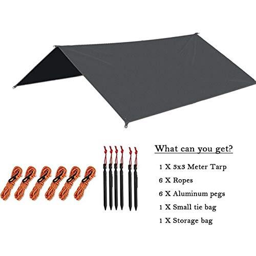 zc 3Mx3M Ultralight Sun Shelter Camping Waterproof Awning Tarp Tent Hammock Rain Fly Camping Sunshade (Color : Black, Size : 33M)