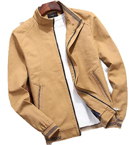 GenericC Men Vintage Banded Collar Zip-Front Lightweigth Solid Casual Jacket Khaki XXL