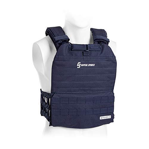 Capital Sports Battlevest 2.0 - Gewichtsweste,hoher optimale Gewichtsverteilung durch Dicke Polsterung an Schultern, inklusive 4 Gewichtsplatten: 2X 5.75 lbs & 2X 8.75 lbs, blau