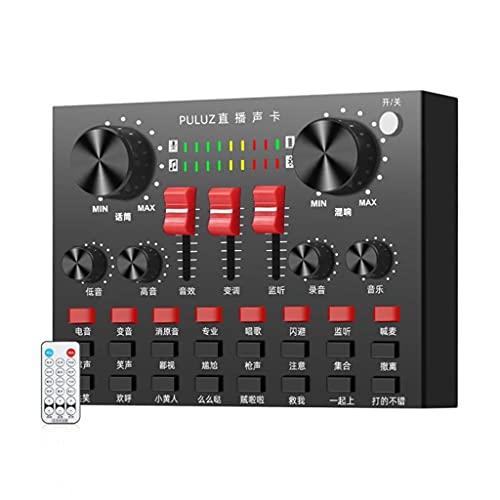 FYZBXTS Amplificador Mezclador de Sonido de grabación de micrófono Profesional de transmisión en Vivo con Tarjeta de Sonido, USB Bluetooth