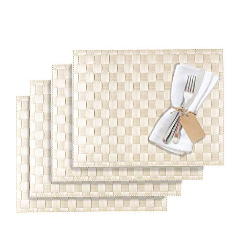 Westmark Tischsets/Platzsets, 4 Stück, 40 x 30 cm, Polypropylen, Gewebe, Lebensmittelecht, Abwischbar, Creme/Weiß, Saleen Edition: Classic 101