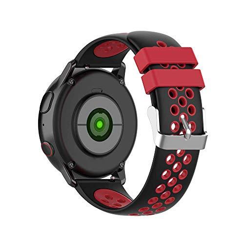 KINOEHOO Correas para relojes con Samsung active/S2 classic, con Garmin vivoactive 3/vivomove HR 20mm Pulseras de repuesto relojesde silicona.(Negro + rojo)