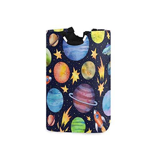 dpcm Cesta de lavandería, planetas coloridos cohetes volando, gran capacidad plegable portátil con asa, bolsa de almacenamiento